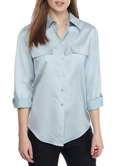 Womens Long Sleeve Button-Down Shirt