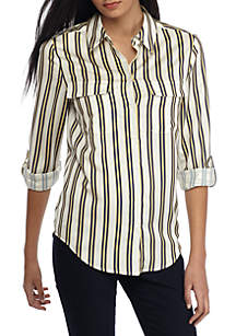 Long Sleeve Stripe Button Front Shirt
