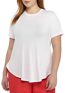 Plus Size Short Sleeve Side Slit Tee
