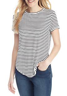 Short Sleeve Stripe Tee with Side Slits