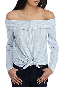 Off Shoulder Long Sleeve Shirt