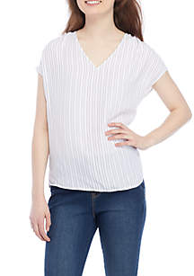 Printed V-neck Shirring Shoulder Tee