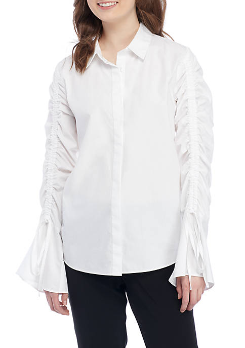 Madison Poplin Long Sleeve Blouse