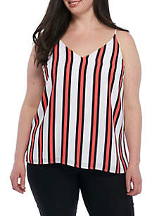 Plus Size Striped Shell Top