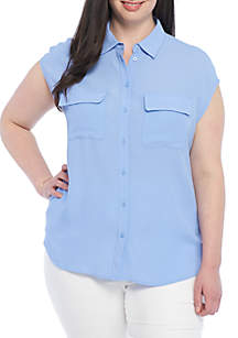 Plus Size Two Pocket Button Front Top