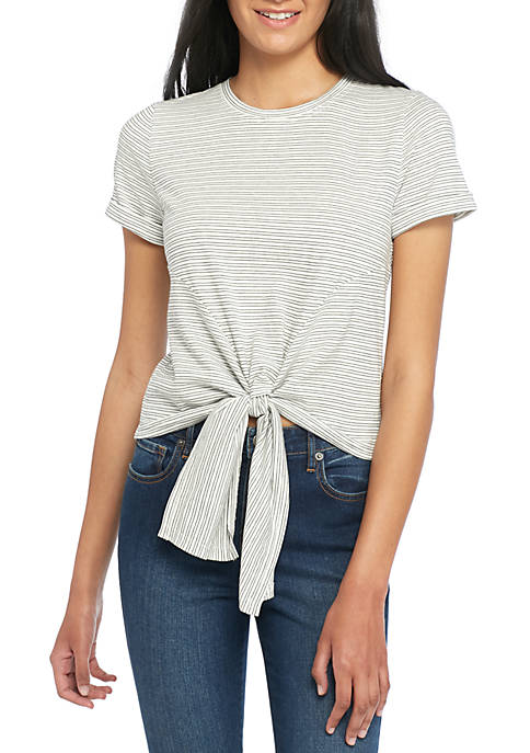 Madison Short Sleeve Tie Front Knit Top