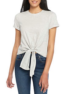 Short Sleeve Tie Front Knit Top