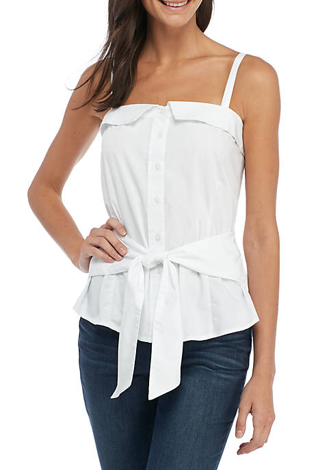 Madison Tie Front Button Up Tank