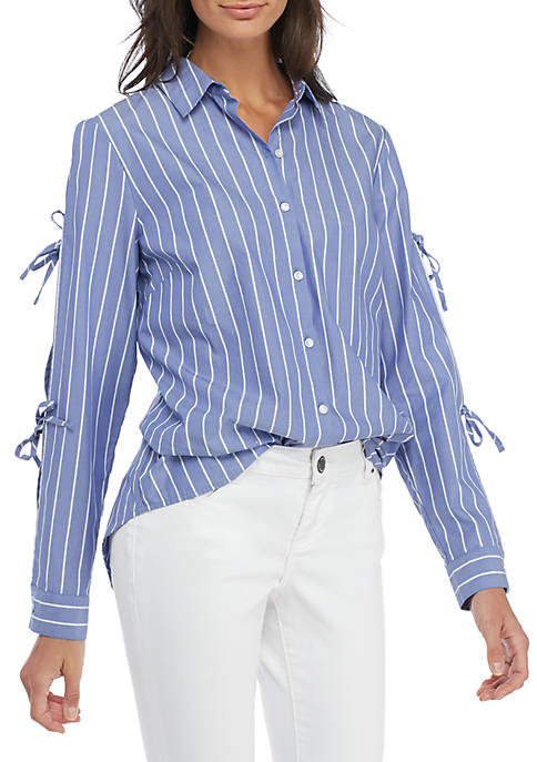 Madison Striped Tie Sleeve Blouse