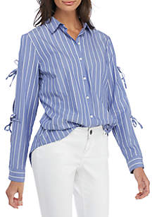Striped Tie Sleeve Blouse