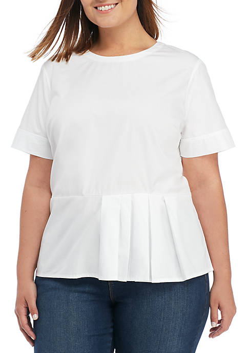 Madison Plus Size Poplin Short Sleeve Peplum Blouse