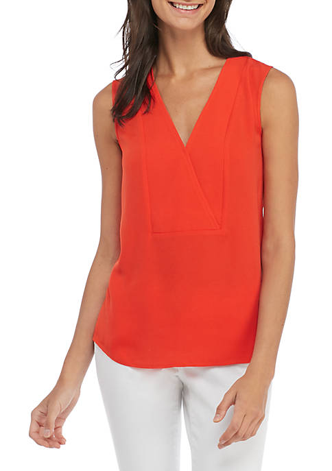 Madison Knit To Woven Cross Front Top
