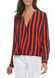 Stripe Surplice Blouse