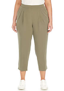 Plus Size Pleated Ankle Pant