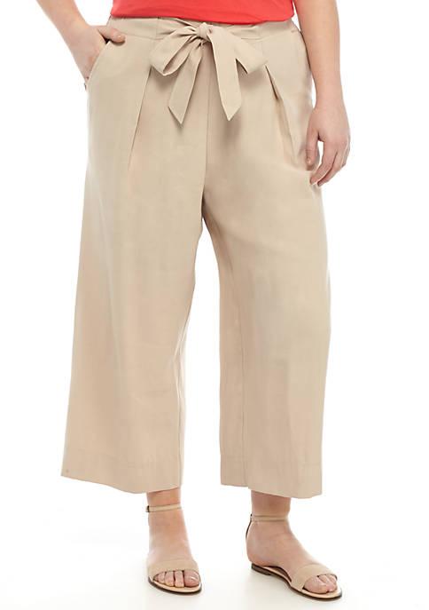 Paper Bag Waist Pant Wide Leg Crop Pants