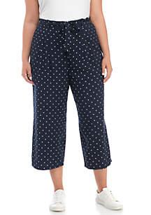 Plus Size Dot Print Tie Waist Crop Pants