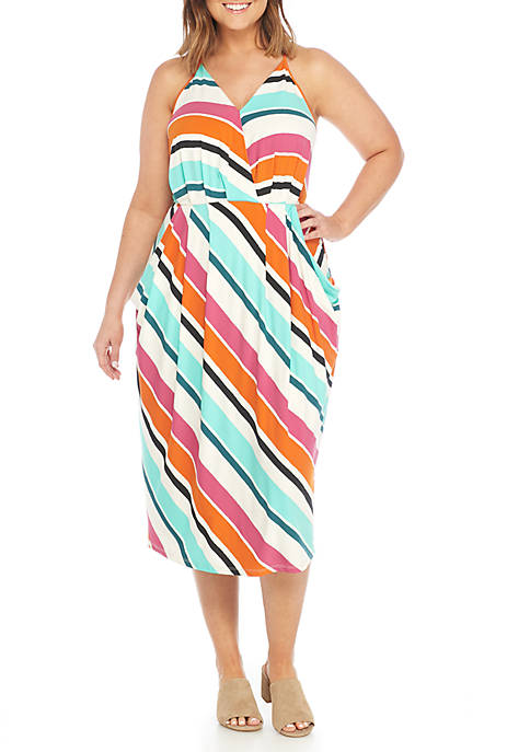 Madison Plus Size Stripe Bias Knit Dress