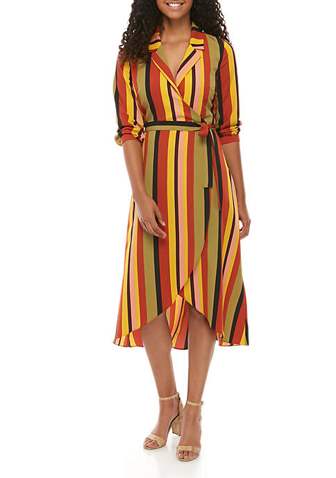 Madison Striped Wrap Dress