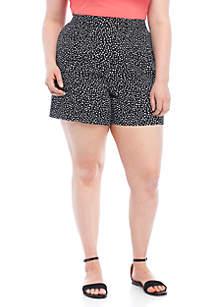 Plus Size Dot Print Soft Shorts
