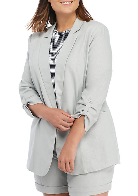 Madison Plus Size Linen Boyfriend Jacket