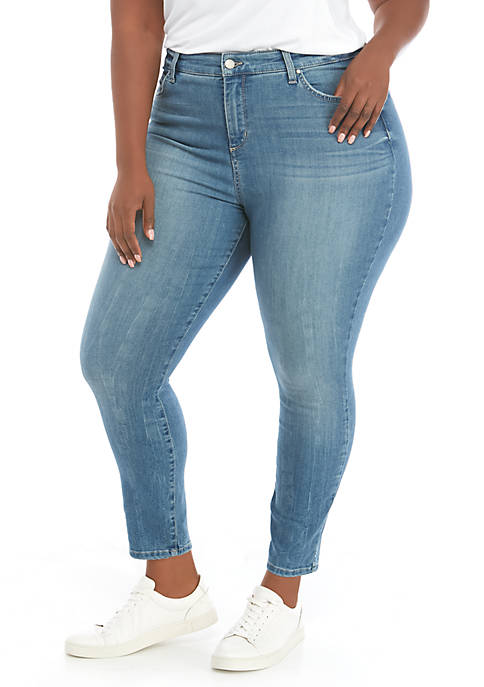 Plus Size High Rise Skinny Ankle Jeans
