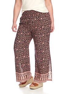 Plus Size Printed Smock Waist Pants