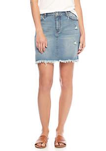 Destructed Denim Skirt