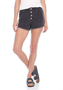 Exposed Button Fray Hem Shorts