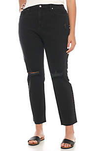 Plus Size Destructed Ankle Straight Jeans