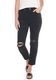 Knee Slit Ankle Straight Jeans
