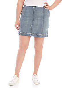 b10f94a39 ... Wonderly Plus Size Seamed Denim Skirt
