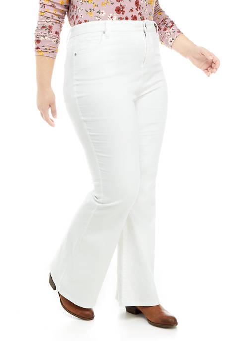 Plus Size Flare Denim Button Pants