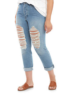 Ripped Out Knee Denim Jeans