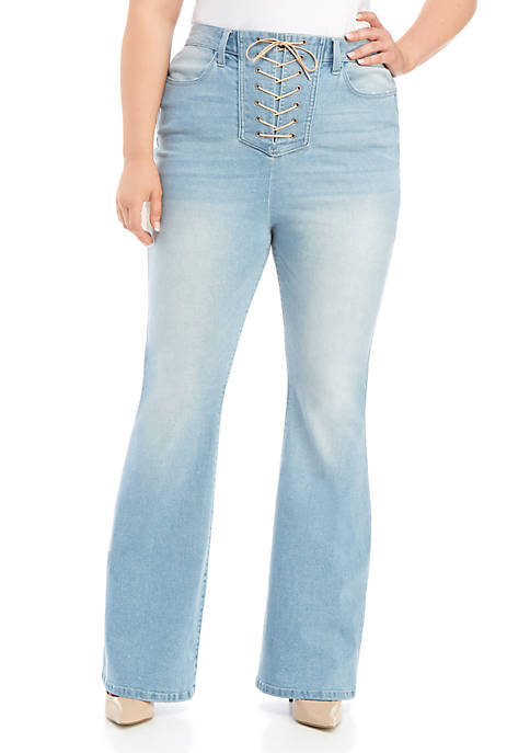 Plus Size Lace Up Flare Jeans