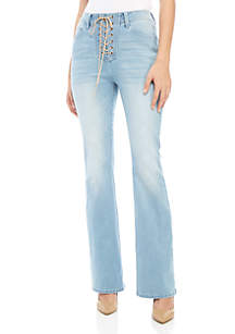 Wonderly Lace Up Flare Jeans