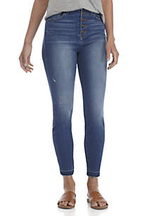 Exposed Button Skinny Jeans