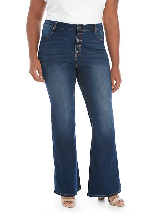 Plus Size Dark Wash Flared Leg Denim Jeans