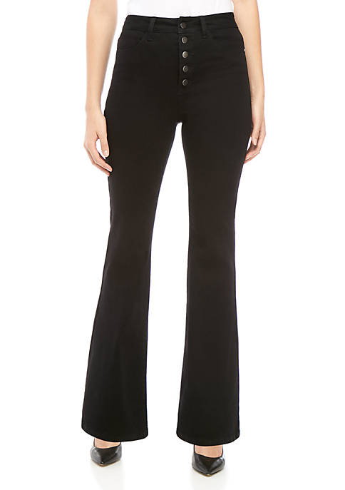 Exposed Button Flare Jeans
