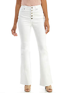 Wonderly Exposed Button Flare Jeans