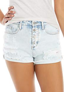 Wonderly Ruffle Hem Denim Shorts