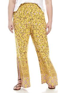 Wonderly Plus Size Floral Border Print Pants