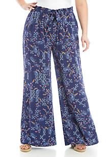 Wonderly Plus Size Drawstring Floral Pants