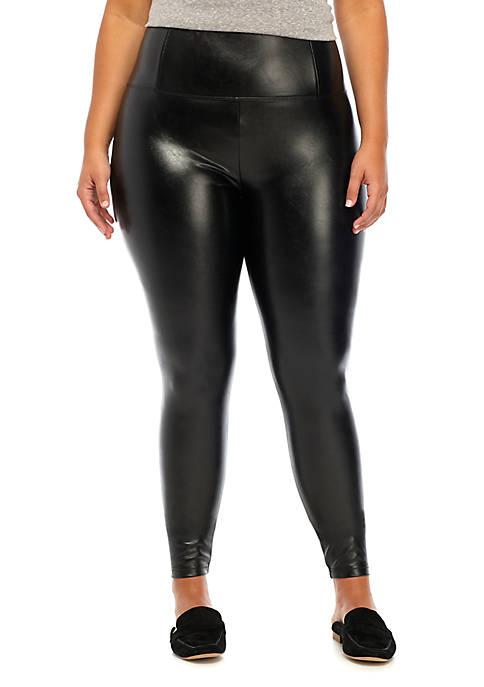 Plus Size Faux Leather High Rise Leggings
