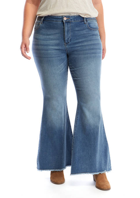 Plus Size Exposed Button Extreme Flare Leg Jeans