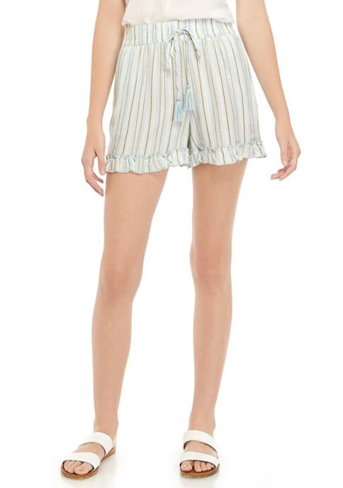 Juniors Ruffle Hem Paper Bag Shorts