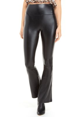 Wonderly Womens Juniors Pull On Faux Leather Flare Pants