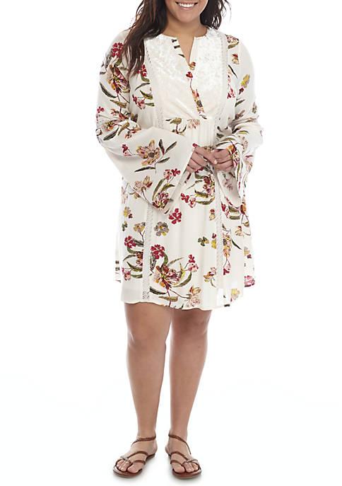 Wonderly Plus Size Floral Print Peasant Dress Belk