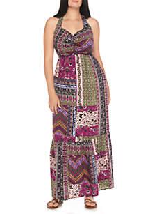 Plus Size Patchwork Maxi Halter Dress