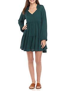 Long Sleeve Solid Textured Dress
