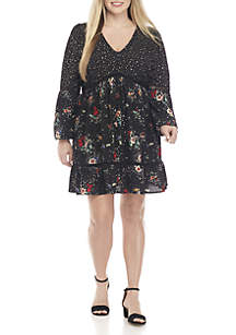 Plus Size Floral and Star Print Woven Dress